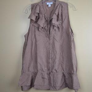 ANN TAYLOR LOFT Women's 100% Silk Brown Blouse